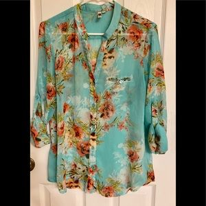 Kut From The Cloth Sheer Floral Button-Down Blouse